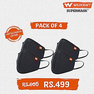 Wildcraft SUPERMASK W95 Reusable Outdoor Respirator – Pack of 4 - Black